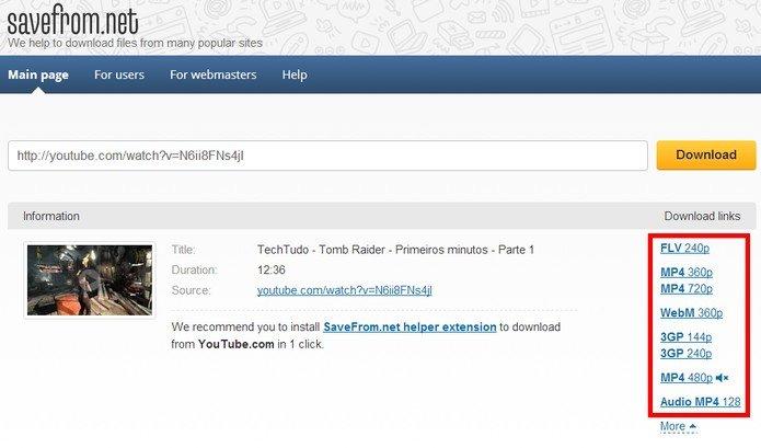 Como baixar vdeo do youtube sem programas jcml solues web veja que tambm possvel baixar somente o udio do vdeo imagem savefrom ccuart Gallery